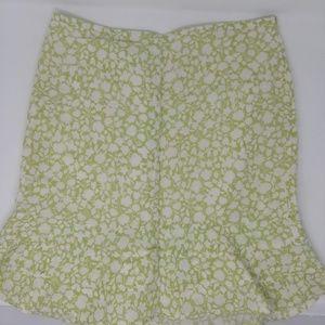 Ann Taylor Loft Green Floral Skirt